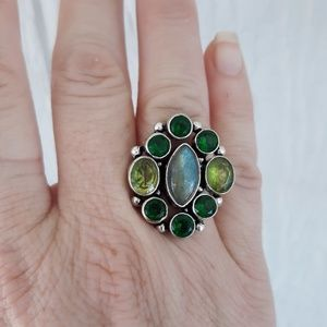 Labradorite, Peridot, Green Quartz Silver Ring. 7